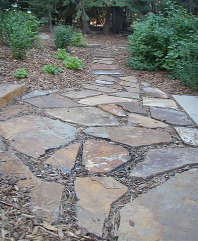 Landscaping photo gallery stairs for Rock stepping stones landscaping