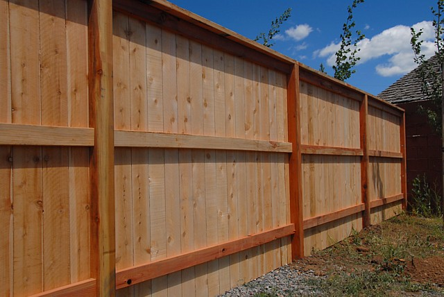 Inside view of 6' redwood/cedar privacy fence